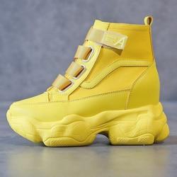 2020 moda tênis para mulheres plataforma chunky alta superior sapatos casuais tênis feminino marca mulher botas amarelo vulcanizado sapatos