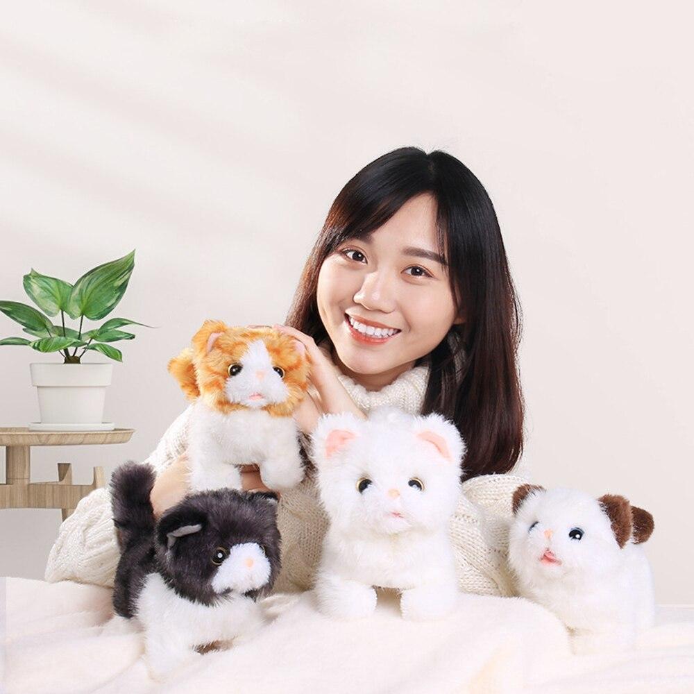 ילדים רך אלקטרוני חיות מחמד שליטת קול רובוט חתולים Stand ללכת חשמלי חיות מחמד חמוד אינטראקטיבי צעצועי חתול קטיפה תינוק מתנת יום הולדת