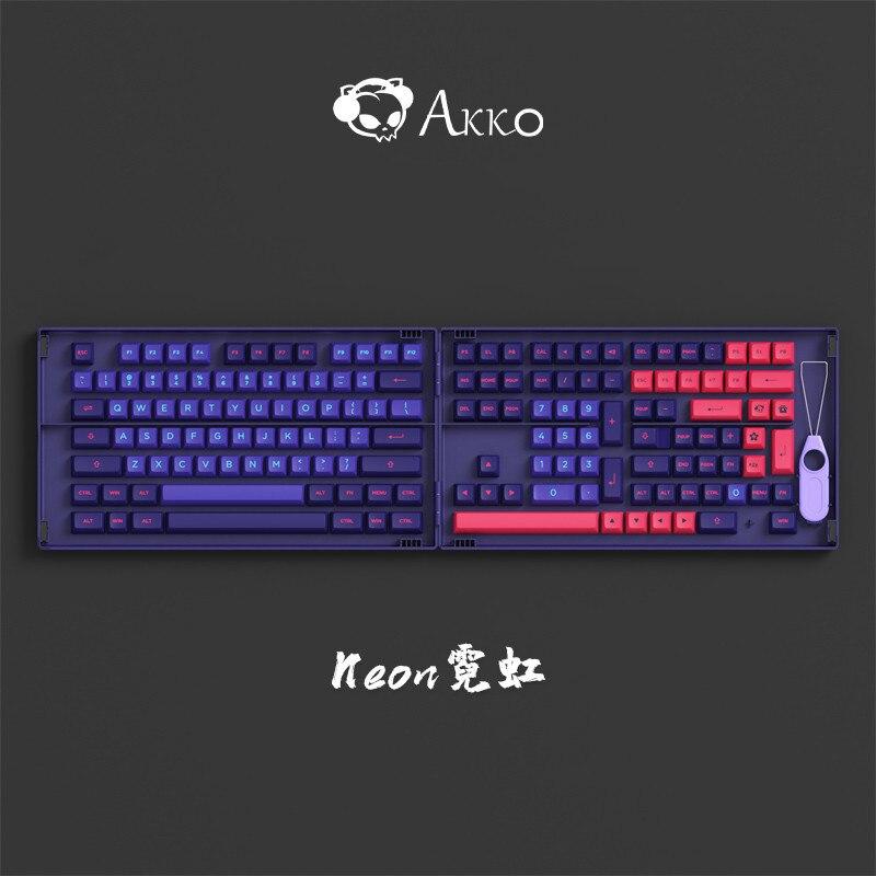 158 مفاتيح/مجموعة AKKO نيون موضوع قبعات ل MX التبديل الميكانيكية لوحة المفاتيح PBT مزدوجة النار مفتاح قبعات ASA الشخصي 7U مفتاح المسافة