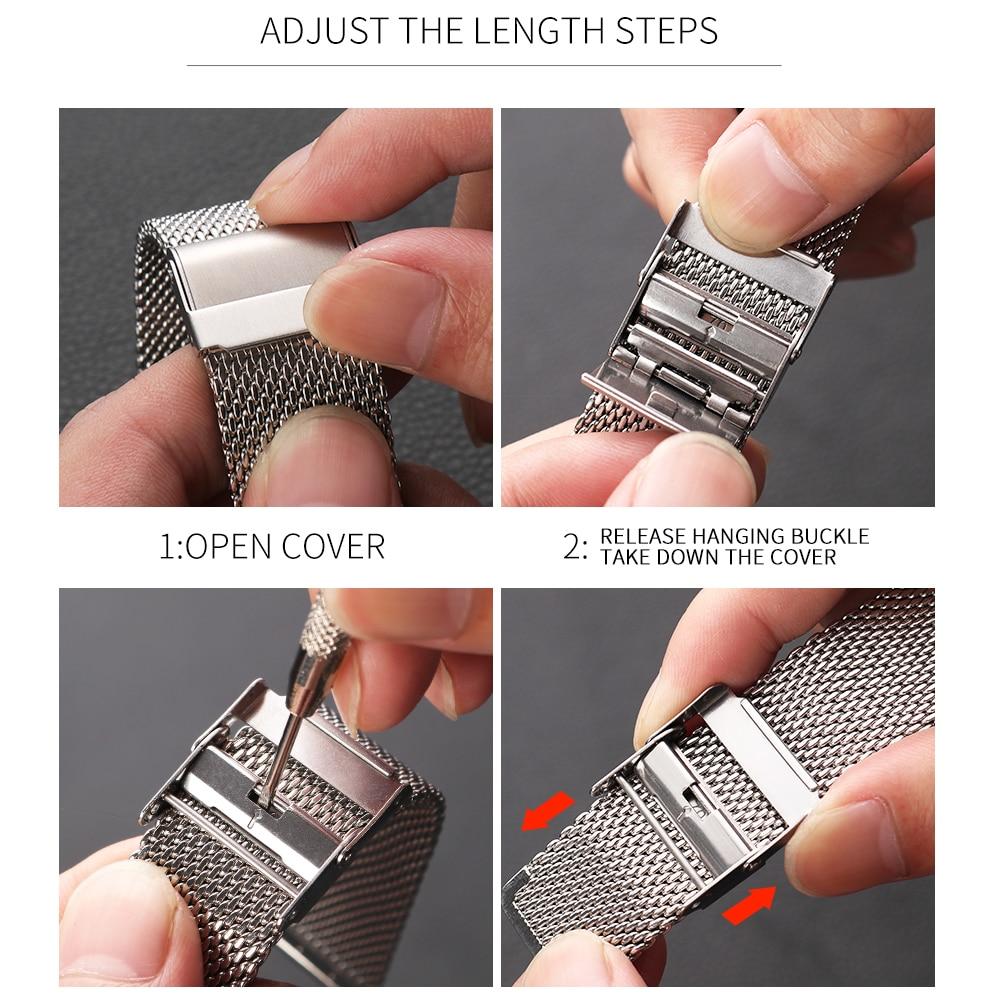 Купить с кэшбэком Milanese Stainless Steel Metal for apple watch Watchband 38mm 40mm 42mm 44mm Band Strap for iwatch Bracelet series 6 SE 5 4 321