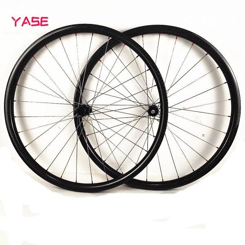 YASE mtb juego de ruedas 29er 30x28mm rueda de disco de carbono sin cámara radios de aleación de titanio DT180S boost 110x15 148x12 ruedas de carbono de bicicleta