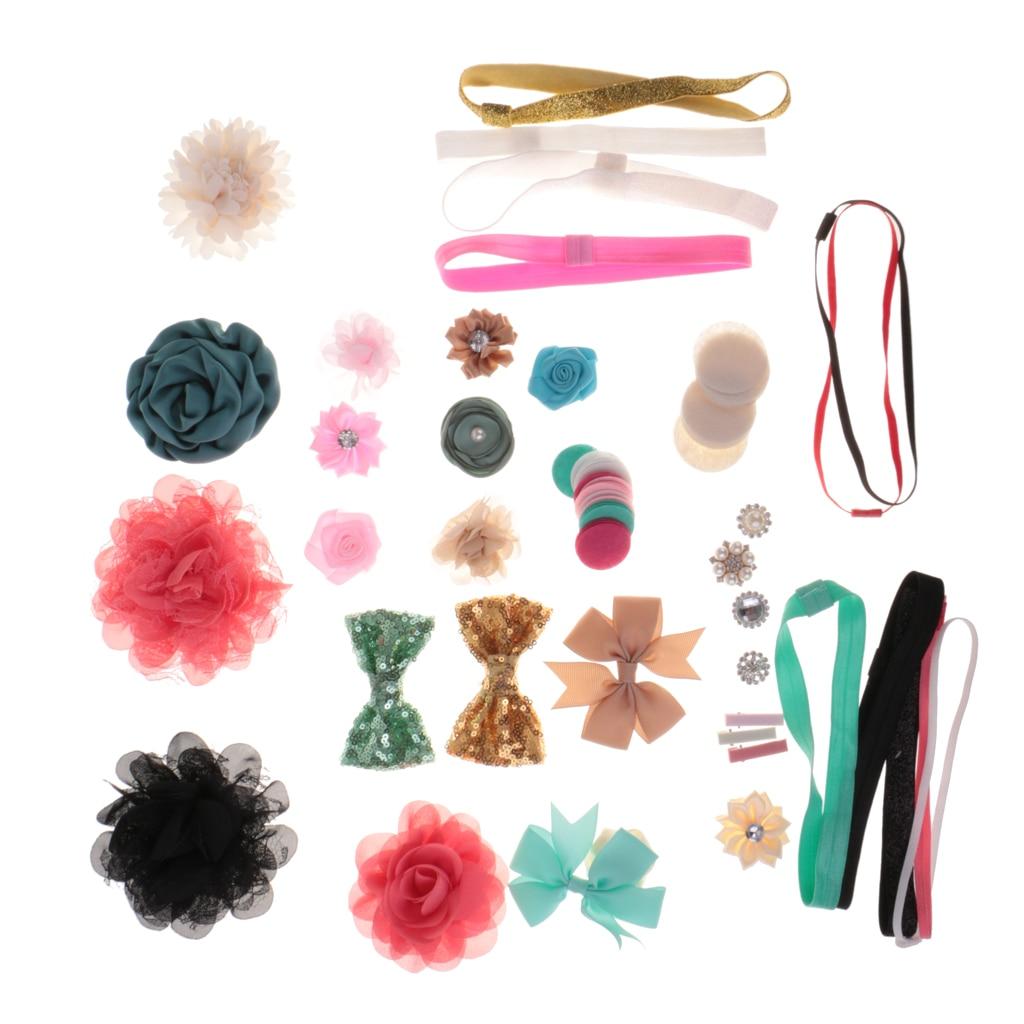 Diadema mixta, Kit DIY de adorno, pasadores de lazo de flores, tocado para recién nacido, bebé niña
