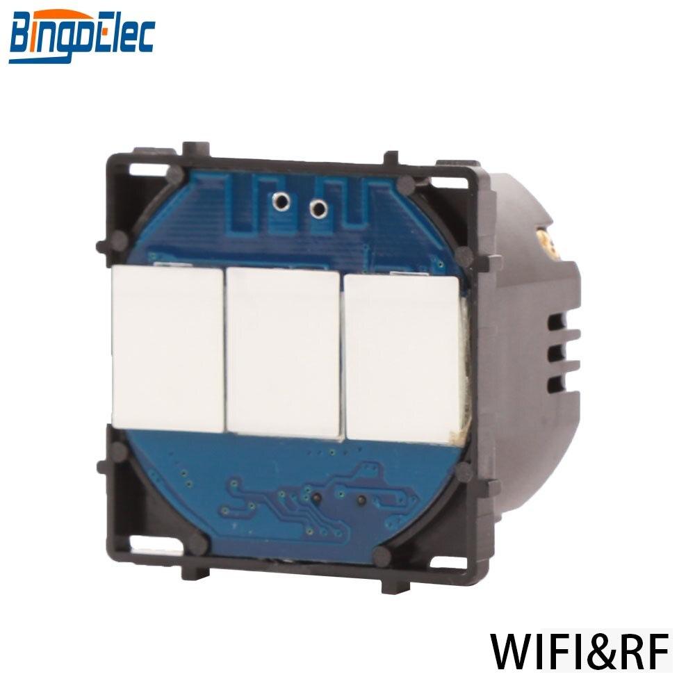 Bingoelec الاتحاد الأوروبي القياسية ، 3 عصابة 1 طريقة التبديل اللمس جزء WIFI الاستشعار الذكية و عن بعد لاسلكي 433.92 MHZ جدار التبديل جزء