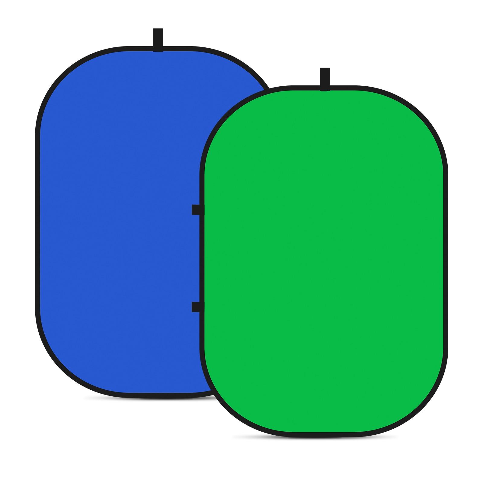 Neewer 2-في-1 Chromakey الأخضر Chromakey الأزرق لطي خلفية لطي عكسها خلفية 5x7 قدم/ 1.5x2 متر