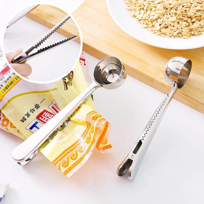 متعددة الوظائف ملعقة للقهوة مع مشبك حقيبة عالية الجودة الفولاذ المقاوم للصدأ الشاي القهوة قياس المجارف ملعقة لوازم المطبخ