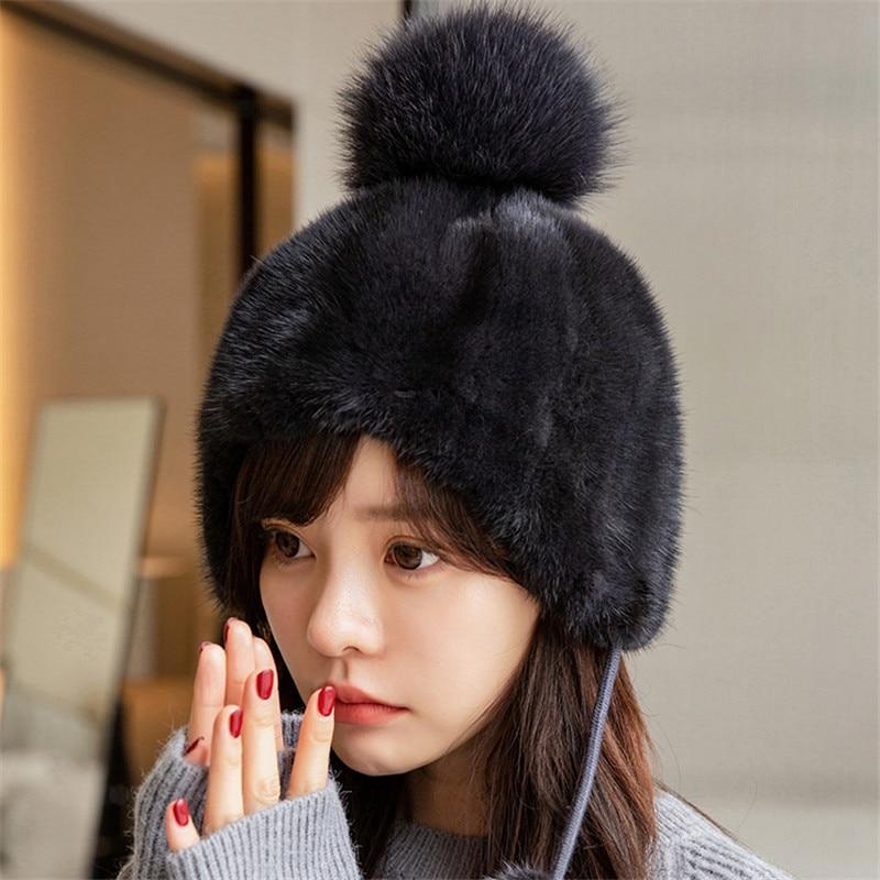 Winter Hot Sale Real Mink Fur Earmuffs Women's Mink Fur Warm Hat Spiral Beanie Hat Top With Fox Plush Pompom Hat