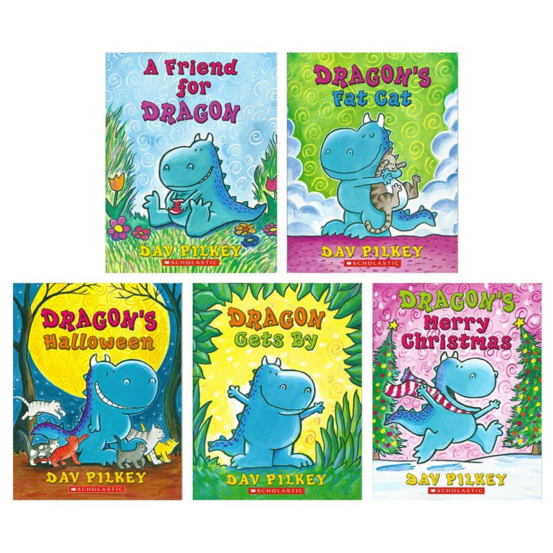 5 Pcs/Set Dragon Children English Picture Books 1-5 A Friend for Dragon Kids English Reading Story Book