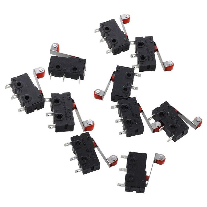 ABSF AC 250V 5A SPDT 1NO 1NC Momentary Scharnier Roller Lever Micro Schalter 3 Pins 10 Pcs