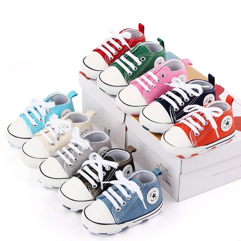 Baby Peuter Schoenen Casual Canvas Crib Schoenen Jongen Meisje Ster Solid Sneakers Zachte Anti-Slip Zool Pasgeboren Zuigeling Eerste wandelaars Schoenen meisjes schoenen baby schoentjes meisje baby schoenen