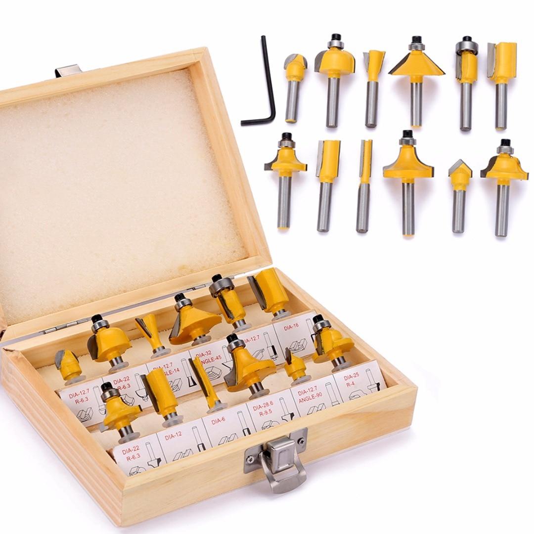 Conjunto com Caixa de Madeira Peças 6.35mm Shank Roteador Bits Madeira Fresas Kit 12 1 – 4