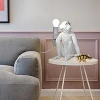 nordic design monkey lamp led table lamps for room modern hemp rope loft table lights bedroom bedside lamp indoor decor lighting