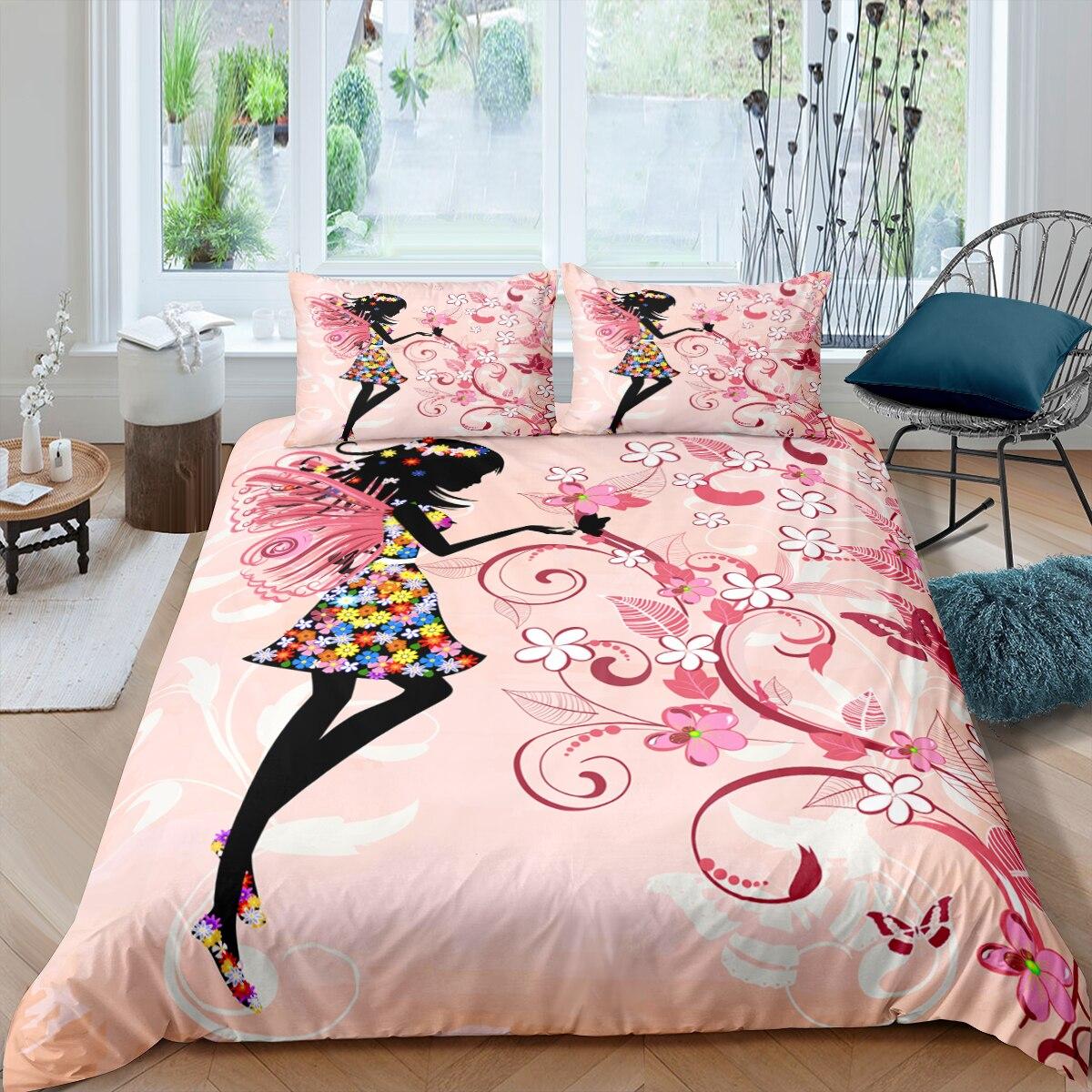 طقم أغطية سرير بطبعة زهور خرافية للبنات ، طقم سرير بطبعة زهور ، غطاء لحاف وأكياس وسادة ، هدية للبنات ، 2/3 قطعة