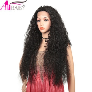 Synthetic Lace Wig 28Inch Long Kinky Curly Afro Wigs For Black Women Daily Use Natural Black Synthetic Wig Alibaby