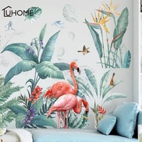 fresh green tropical plants flowers nordic style removable wall stickers decals home decoration for liveing room bedroom