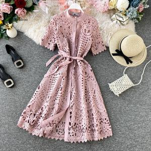 Women Elegant Hollow Out Lace Dress Office Lady Summer Solid O-Neck Button up Sashes Midi Dress Female Chic Short Sleeve Dress