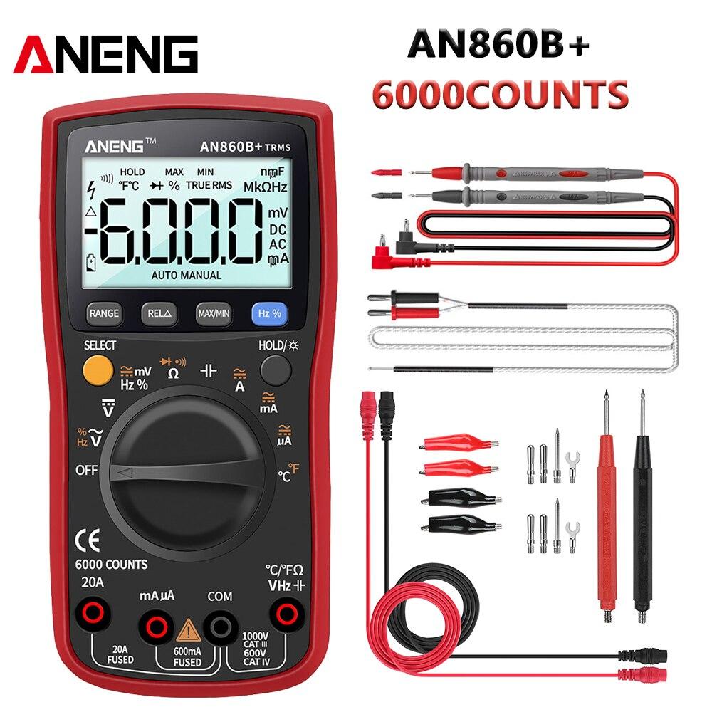 ANENG-multímetro Digital AN860B +, medidor Profesional de Corriente CA/CC de 6000 recuentos,...