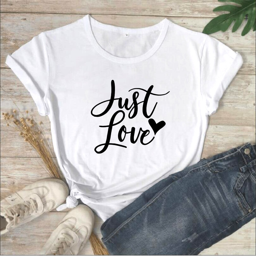 Camisetas gráficas Just Love, camiseta de verano para Mujer, camiseta de manga...