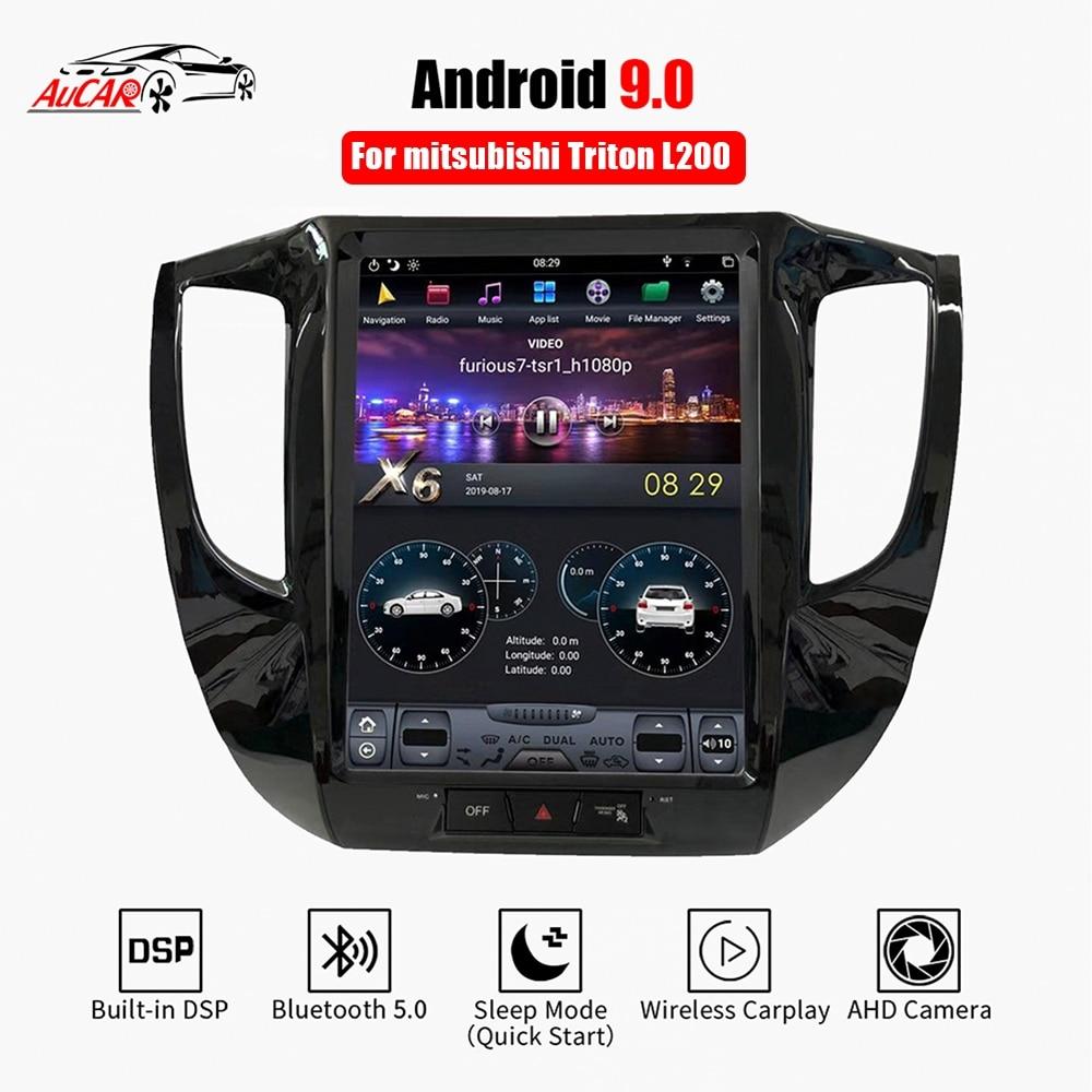 Rádio do carro dos multimédios de aucar tesla android 9.0 para mitsubishi triton l200 2016-2018 navegação gps 1 din estéreo autoradio dvd