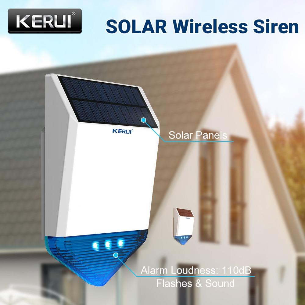 KERUI Wireless 433mhz Outdoor Strobe Solar Powered Siren LED Flashing Response Sound 110 dB Waterproof Siren for Alarm System недорого