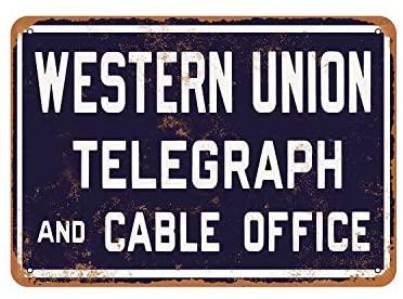 Rústico Occidental Unión Telegraph y Cable 2 aspecto Vintage signo de Metal