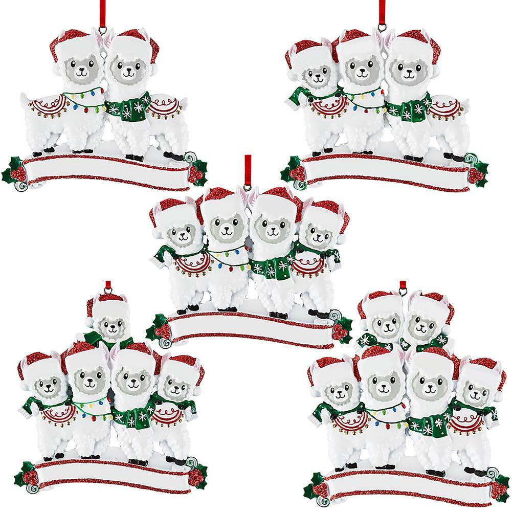 Arbre de noël personnalisé alpaga pingouins suspendus décor à la maison bricolage nom salutations noël suspendus PVC doux en caoutchouc décor