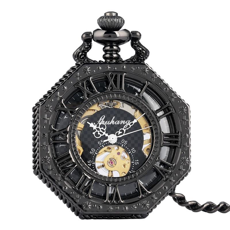 Retro Octagon Shape Clock Men Women Handwinding Mechanical Pocket Watch Skeleton Clock Roman Number Dial Pendant Chain Reloj