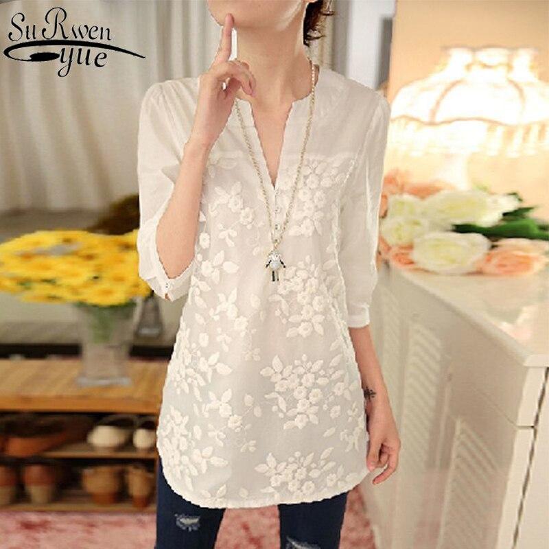 2020 nova verão coreano blusa feminina flor impressão blusa com decote em v organza bordado camisa branca blusa de renda superior plus size 566f 25
