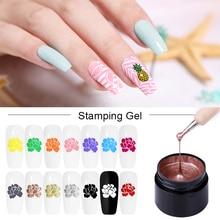 LEMOOC 5ml Colorful Painting Gel Nail Art Stamping Gel Nail Polish Varnish UV Gel Soak Off UV Gel for Nail Stamp Plate
