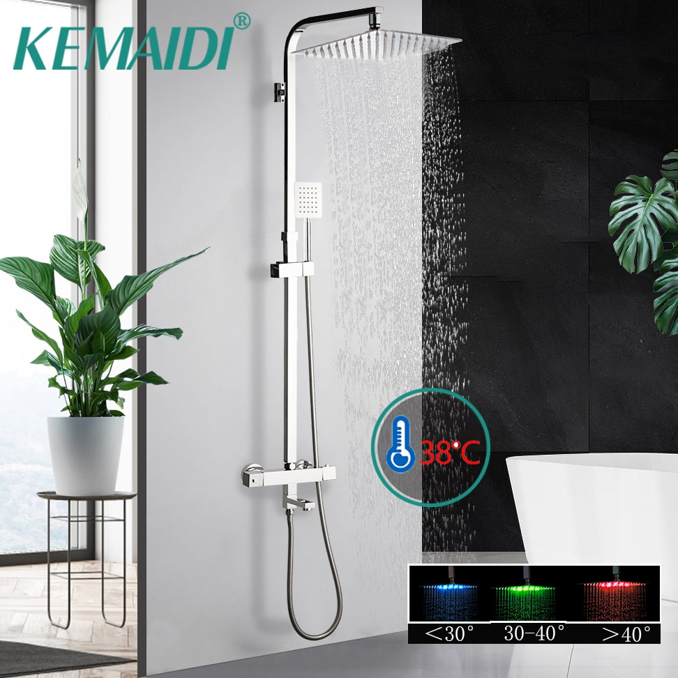 KEMAIDI-مجموعة دش ثرموستاتي LED ، خلاط عالي الجودة ، خلاط ثرموستاتي ، صنبور حوض الاستحمام