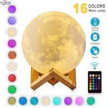 3D Print Moon Lamp LED 16 Colors Night Light USB Rechargeable Touch Switch Table Lights Children's G