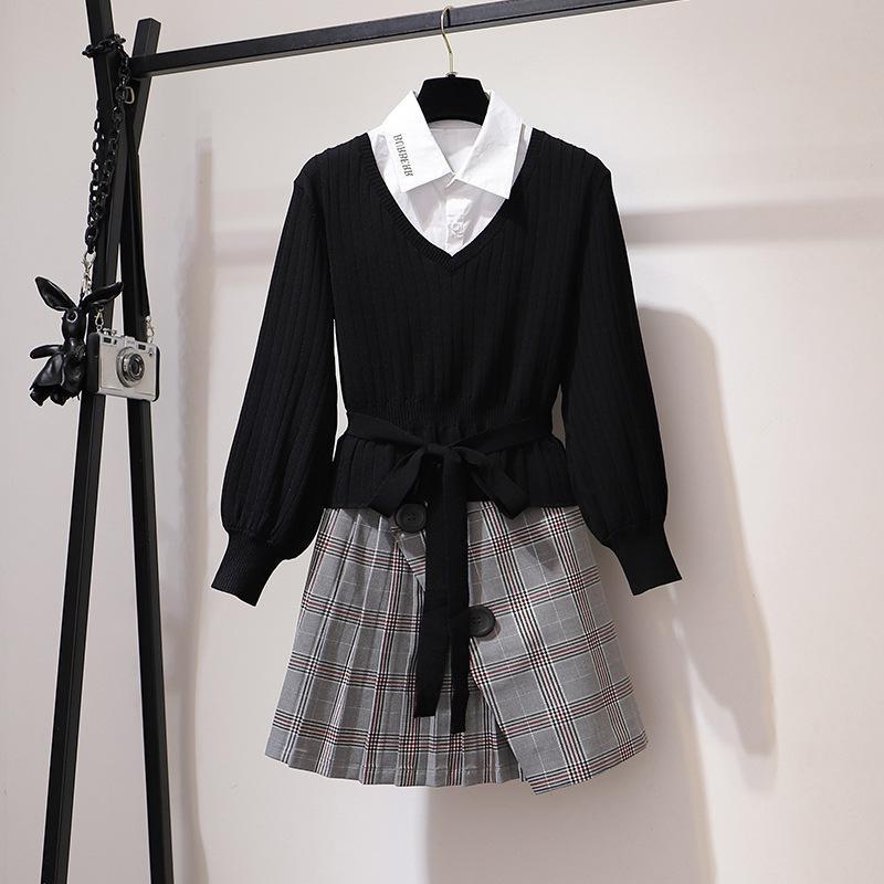 ICHOIX fashion 3 piece set v-neck knitted tops and skirt set elegant women Korean outfits long sleeve office work winter set
