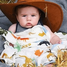 Couverture en Fiber de bambou 100%   Couverture monde de dinosaure, literie de bébé, serviettes de bain, couvertures de nouveau-né pour bébés, lange emmaillotage