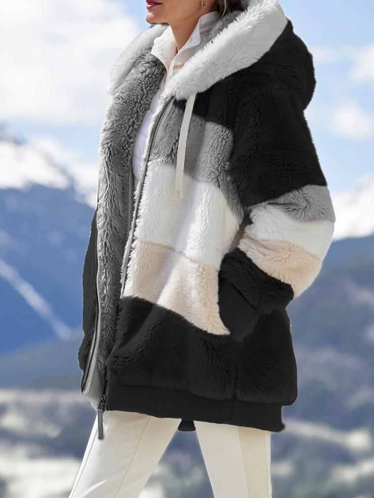 2020 Winter Women's Coat Fashion Casual Stitching Plaid Ladies Clothes Hooded Zipper Ladies Coat Cashmere Women Jacket
