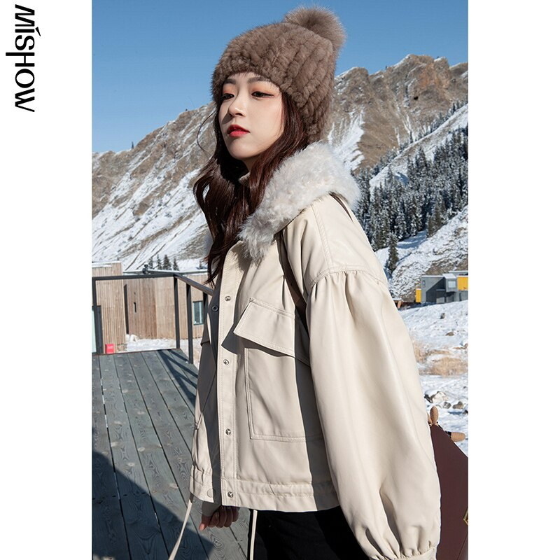 CMAZ 2020 Winter Parkas For Women Fur Collar Coats Solid Tops Outdoor Overcoats Fashion Clothing Fem