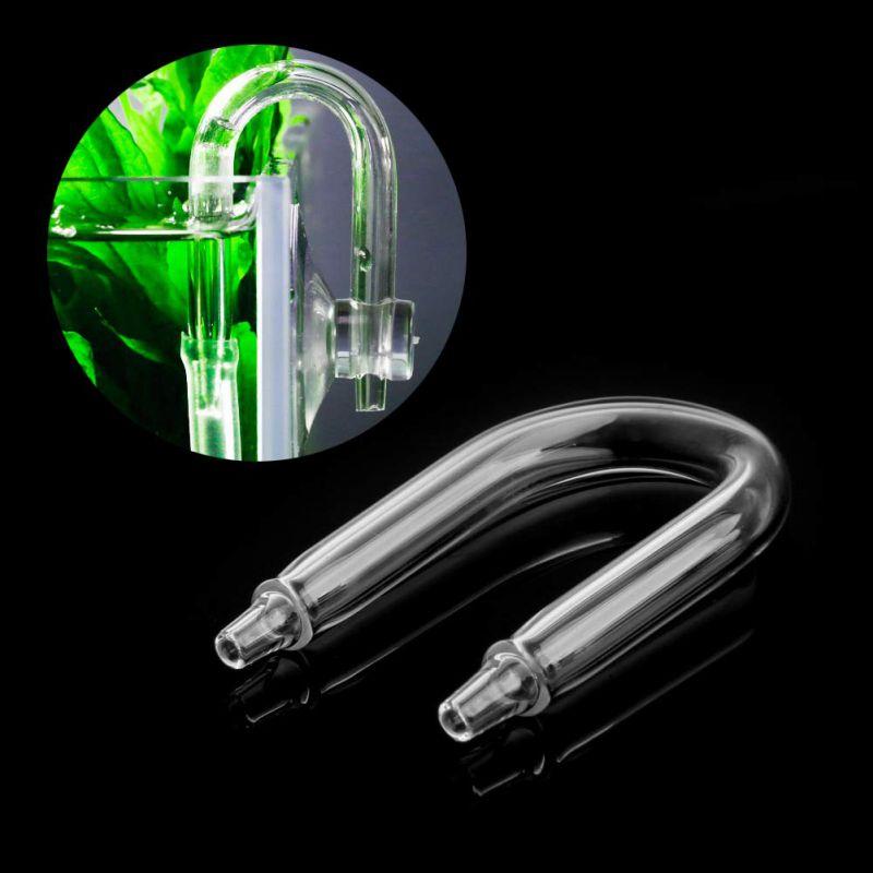 1 válvula de retención del difusor del CO2 del acuario regulador del tubo de cristal en forma de U conector curvo del tubo de la pecera en forma de U