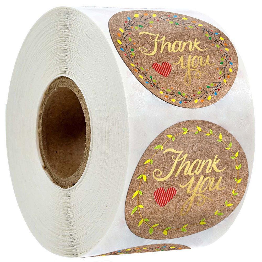 500Pcs/Roll Round Kraft Thank You Stickers With Hearts Party Wedding Decoration Round Sticker Gift Decoration Supplies Label