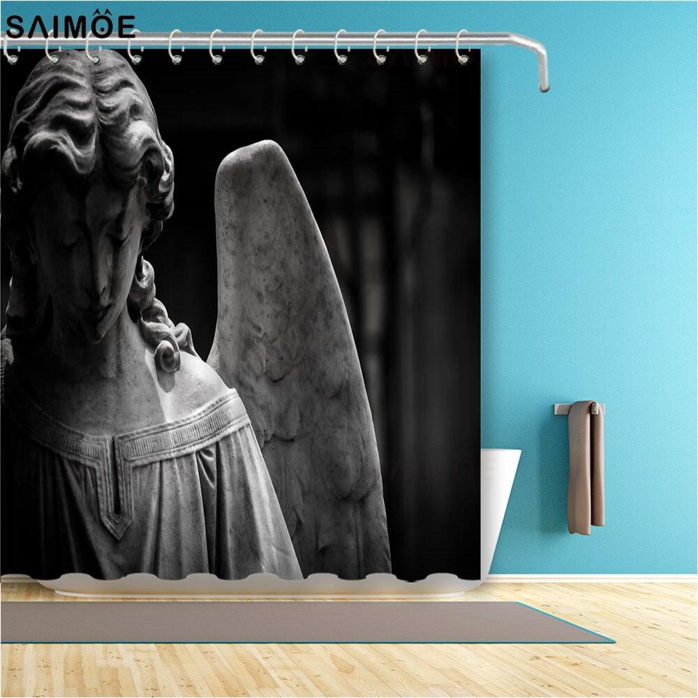Pequeño ángel en un cementerio, 3D cortina de baño, tela impermeable, cortina para bañera o ducha, juegos de baño y ducha