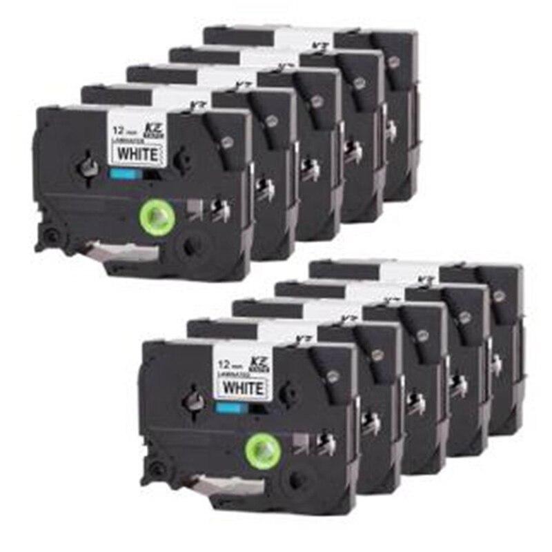 10 Pcs Compatible for Brother Label Tape P-Press Label Printer Ribbon Label Maker 12Mm x 8M Black