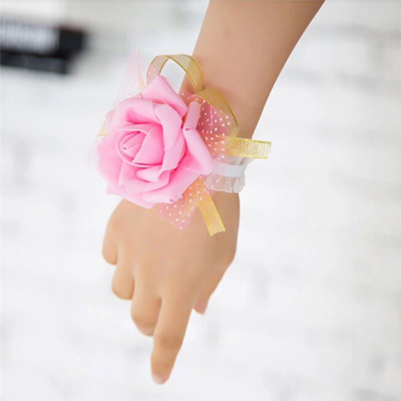 Nova dama de honra pulso corsage festa rosa pulseira flores de seda fita noiva ornamento decoração do casamento vestido de dama de honra
