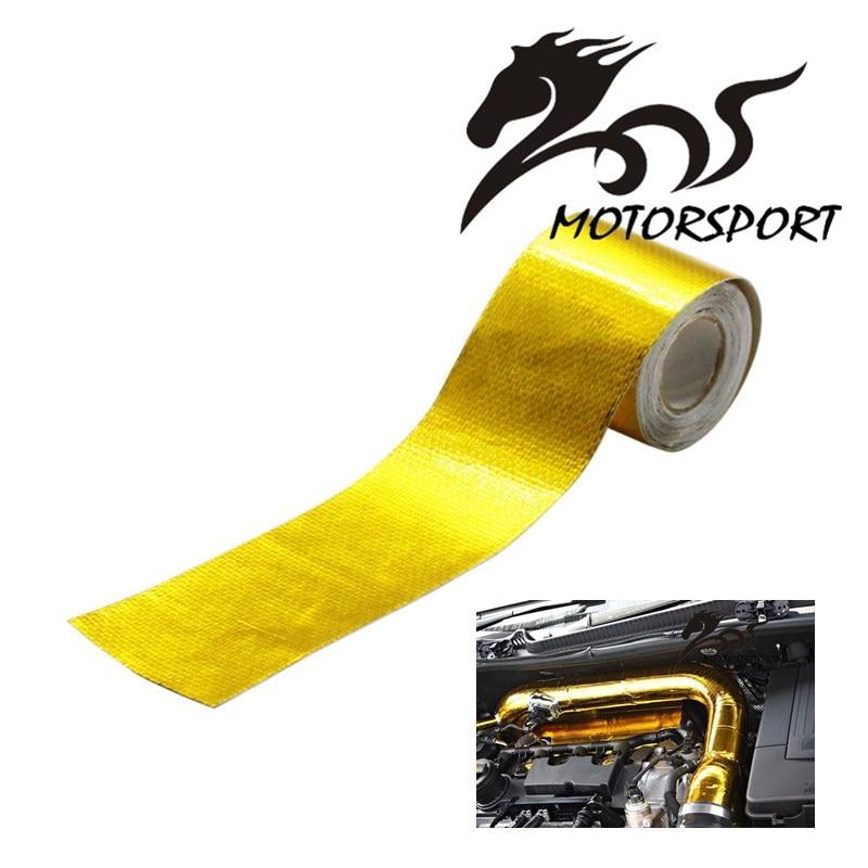 "2 ""x 5 Meter רול עצמי דבק לשקף זהב חום לעטוף מחסום עבור הונדה/פולקסווגן/BMW כל צריכת צינור/ערכת יניקת"