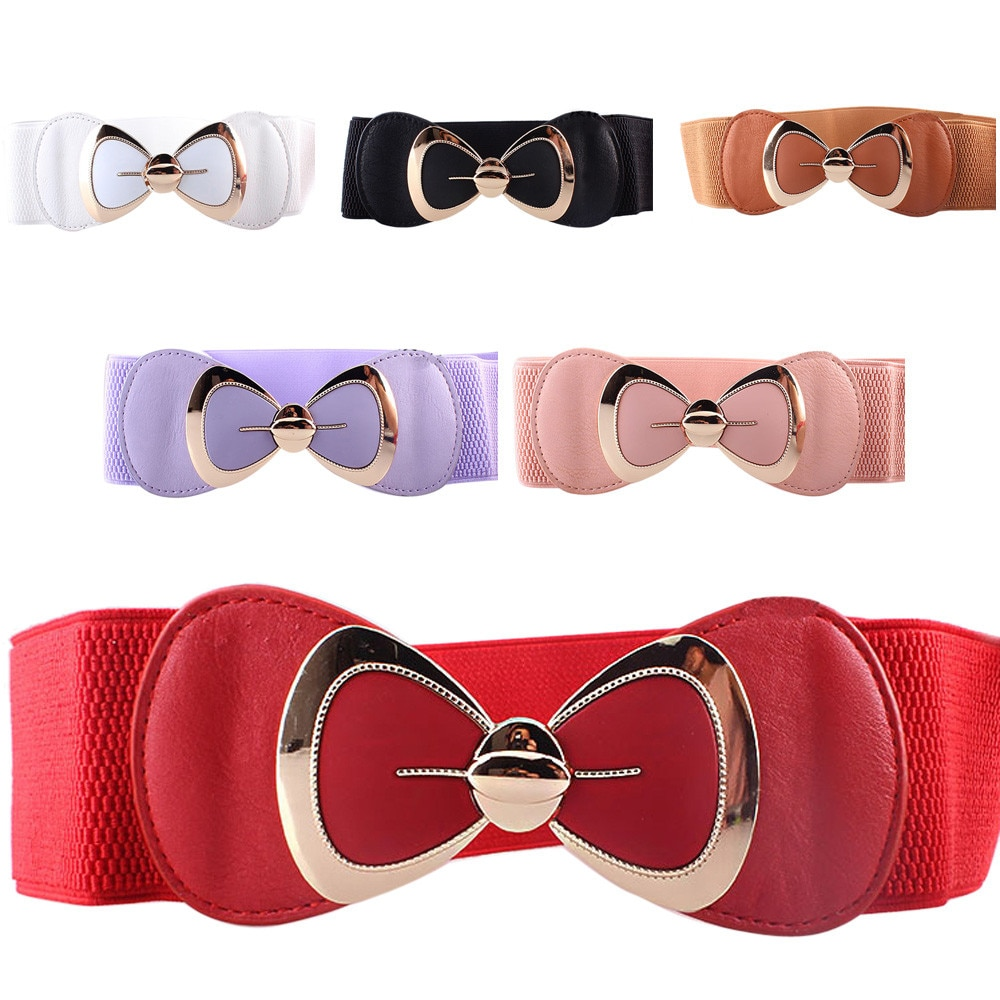 2021 New Women Fashion Belt Bowknot Buckle Waistband Vintage Wide Waist Belts For Women Elastic Stretch Dress Waist Belt funny rectangle buckle embellished furry wide waist belt