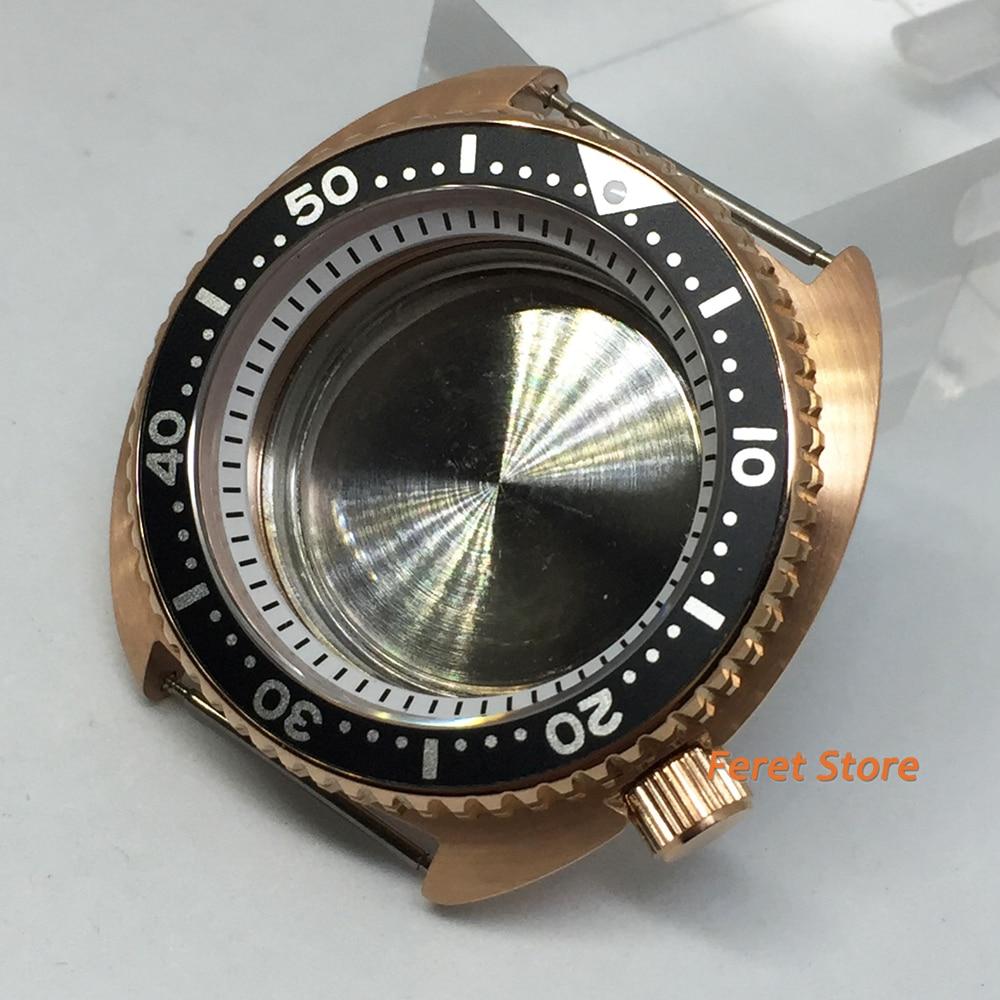 Relógio de Ouro Bliger Novo Goutent Rosa Case Preto Liga Moldura Inserir Branco Capítulo Anel Vidro Safira Caber Nh35 Nh36 Movimento 45mm