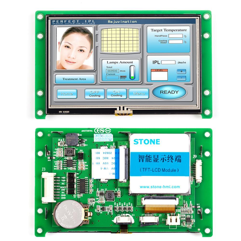 Pantalla táctil LCD TFT de 4,3 pulgadas programable integrada con RS232 + RS485 para uso Industrial