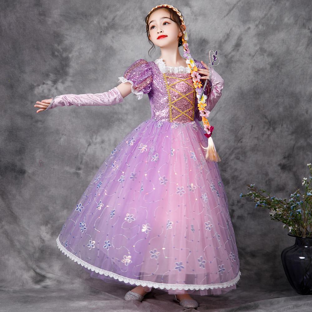 VOGUEON-Vestido de princesa de lentejuelas con mangas abullonadas para niñas, disfraz Infantil...