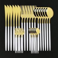 30 шт. Столовые сервизы из белого золота набор столовых приборов Нержавеющаясталь Золотой столовые ложки посуда набор западные ложки вилки...