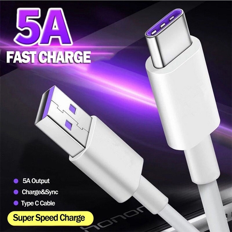 Cable USB tipo C de carga rápida 5A, cargador rápido USB 3,1,...