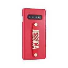 Pour Samsung Galaxy S8 S9 S10 Plus Note 8 9 A50 personnalisé en cuir étui de téléphone tenant sangle or métal nom texte téléphone Funda Coque