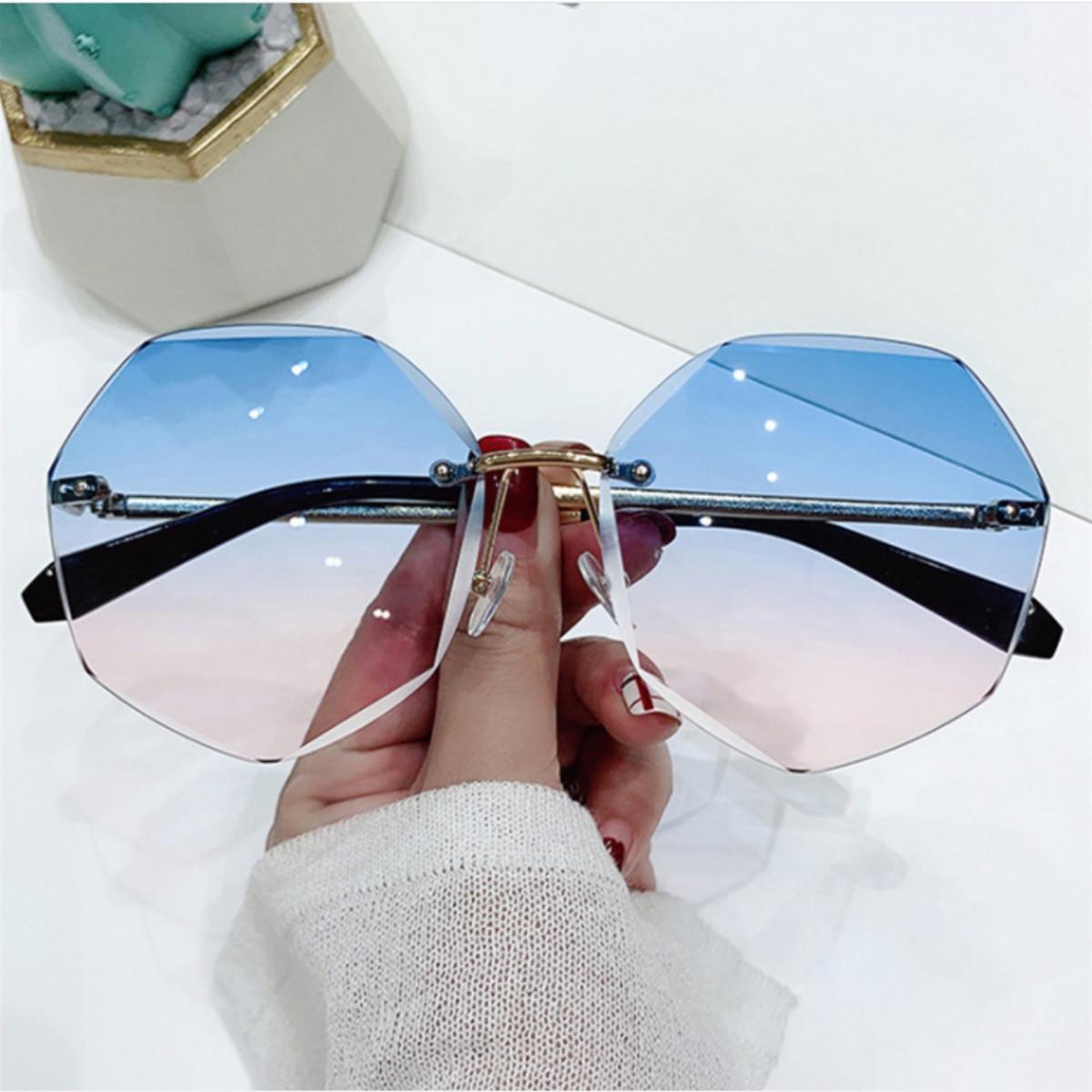 2021 new metal frameless Sunglasses European and American fashion glasses trimming Sunglasses polygonal women's Sunglasses