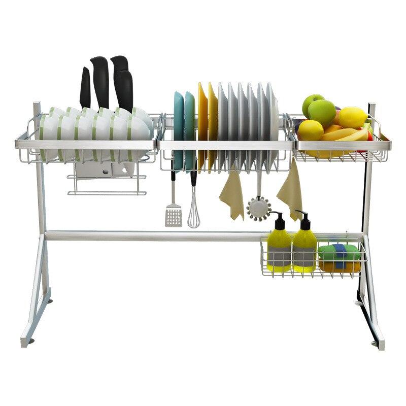 2 طبقات متعددة الاستخدام الفولاذ المقاوم للصدأ أطباق رف واحد المزدوج بالوعة استنزاف رف المطبخ Oragnizer رف طبق الجرف بالوعة تجفيف الرف