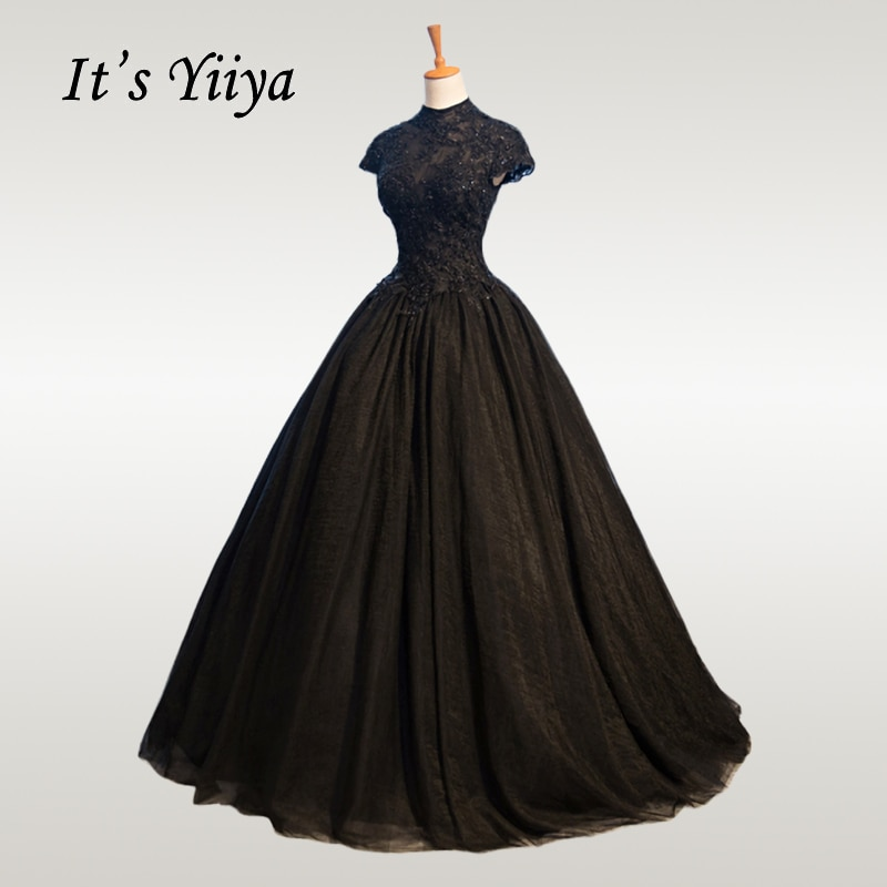 فستان زفاف من It's YiiYa 2019 برقبة عالية مطرز بالخرز من الدانتيل الأسود فساتين زفاف أنيقة مقاس كبير كريستال طويل Vestido De Novia CH057
